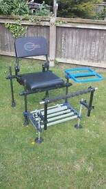 Fishing tackle seatbox and 13m pole