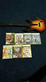 Guitar Hero Controller and 7 Games Bundle (Xbox 360)