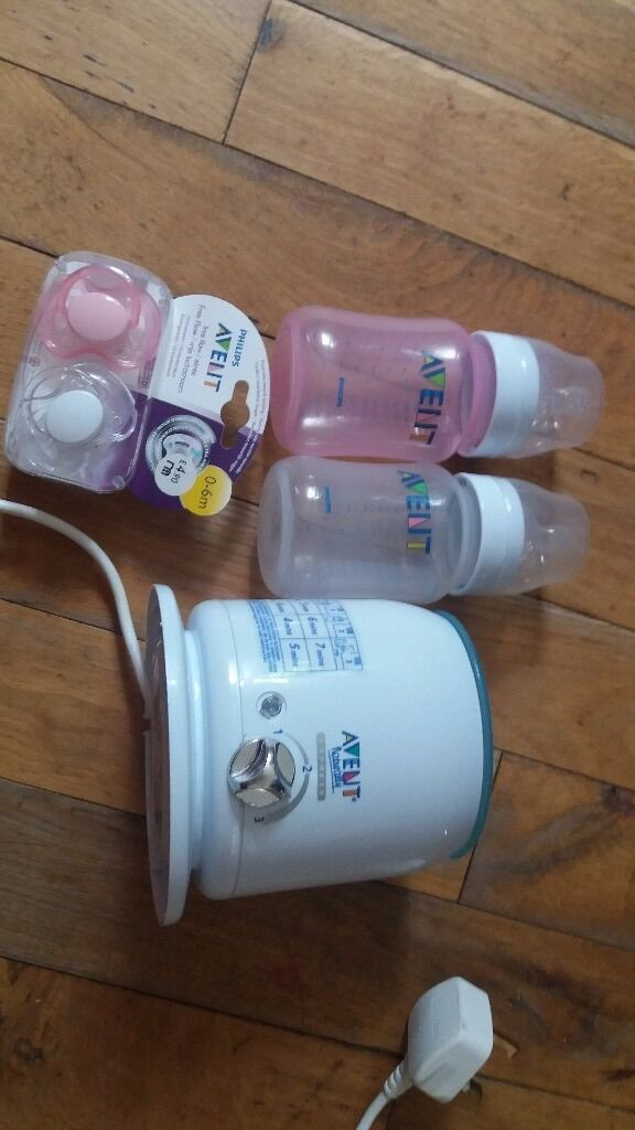 Avent baby bottle warmer with bottles and pacifiersin Coatbridge, North LanarkshireGumtree - Avent Philips bottle warmer in good used condition 2 new Avent 260 ml bottles (white and pink) And 2 new Avent pacifiers in size 0 6 months From smoke free and pet free house