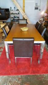 Dining Table, 6 Chairs & Matching Side Table
