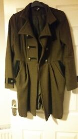 Asos size 10 military khaki olive green coat