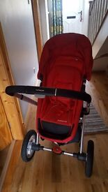 Red mothercare my 4 pram great condition complete with foot muff and rain cover