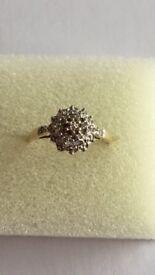 Diamond cluster ring. Size M