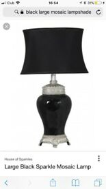 Large black mosaic table lamp