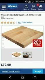 2 x wickes solid beech wood worktops 3000x600x28