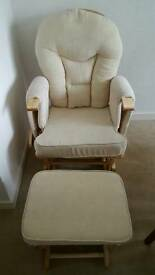 Breastfeeding glider chair with footstool