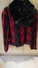 Womens black and red jacket size 8