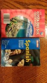 Spanish phrase book, and Costa Del Sol pocket guide.