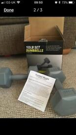 Brand New In Box 10lb Dumbbells Weights Set