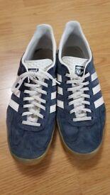 Blue suede Adidas gazelles size 10
