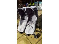Mothercare twin / double buggy with cosy toes pushchair