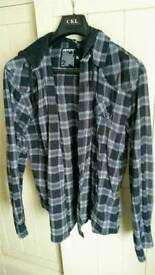 Mens size XL hooded check shirt