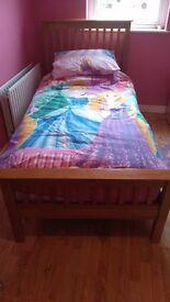 Solid oak single bed