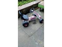 **BARGAIN** pink / white adjustable pedal gokart - hardly used