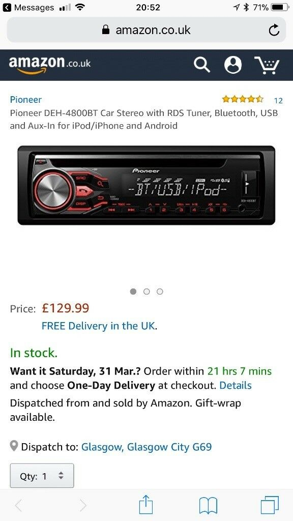 3bfc9908b03 Pioneer car stereo with USB port and bluetooth