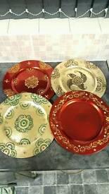 Decorated mehndhi plates.