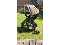 Graco Evo stroller and Carry Cot in Khaki Colour (footmuff and rain cover included)