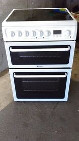 Hotpoint 60cm Double Oven, Electric Cooker with Ceramic Hob.