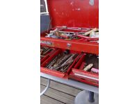 Metal tool box with some tools