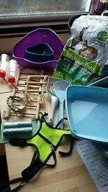 Free small pet accessories - water bottles, litter tray, lead(for ferret, rabbit, guinea, maybe cat)
