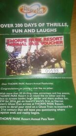 Thorpe Park resort annual pass for sale £45