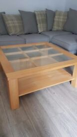 Large wood and glass coffee table