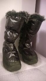 Girls black snow boots worn once