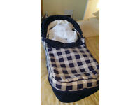 PRAM VERY GOOD CONDITION, NO LONGER NEEDED, BLUE AND CREAM CHECK, CONVERTS TO BUGGY