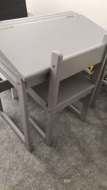 Children's solid wooden desk and chair