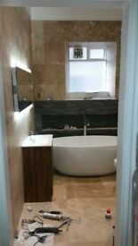 Bathroom full renovation,plumbing,tiling, electric installation.Plastering,painting.
