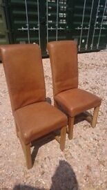 8 Brown leather chairs