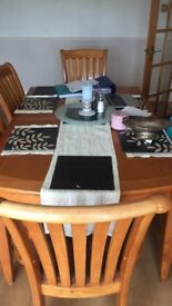 6 chair wooden dining room table with chairs and extended table