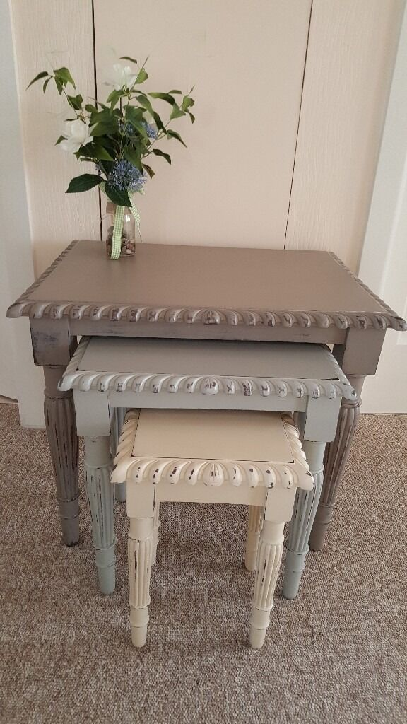 Beautiful Nest Of 3 Tables Shabby Chic Hand Painted In