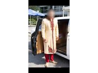 Groom wear Sherwani Shalwar Kameez Gold Red Nikha Barat Walima suit from Mongas