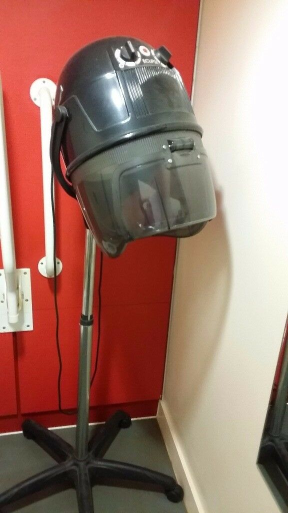 Black freestanding hood dryer