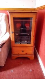 Solid oak HiFi unit with storage