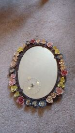 Mirror with pretty metal floral frame