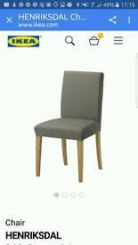 4 X IKEA Henriksdal Dining Chairs Oak/Grey Beige