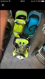 Isafe pushchair with car seat and 2 pushchair carry cotts