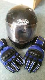 Airoh motor bike helmet flip front & Sun visor