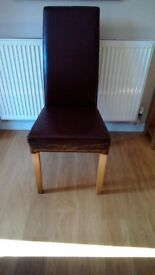 3 dining chairs. High back modern leather look. Ideal as additional chairs for Xmas.