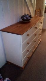 9 drawer pine and cream chest of drawers