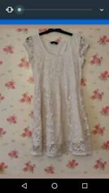Lace dress, cream, size 10