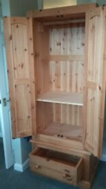 Small/single pine wardrobe - Ideal for shabby chic makeover