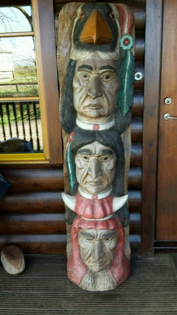 Wooden totem poles