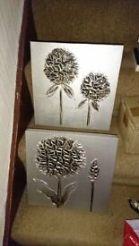 Great condition wall art/canvases - silver/metallic/flowers