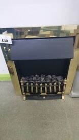 Electric Fire with brass surround