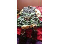 Flower of scotland kilt and gillie shirt waistcoat shoes socks and sporran