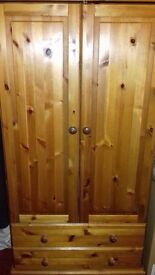 Tallboy Wardrobe With 2 Door & 2 Drawers Solid Stained Pine