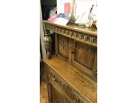 Real dark oak dresser with 2 drows
